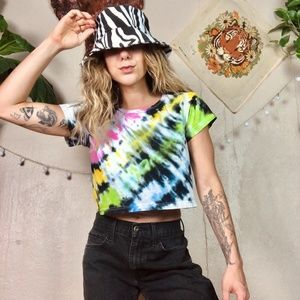 Tops - Rainbow Bright Hand Tie Dye Cropped Baby T Shirt